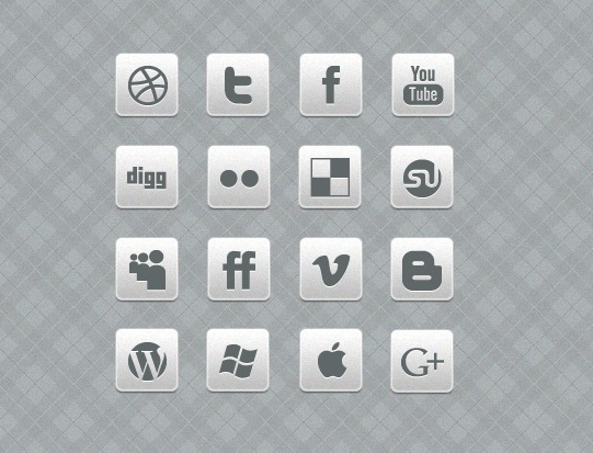 Grey and White Social Media Icons