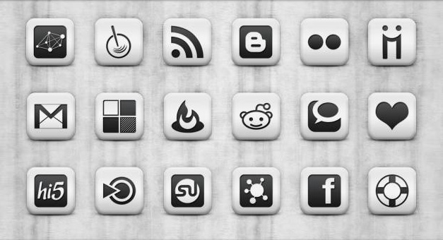 Dark Grey and White Social Media Icons