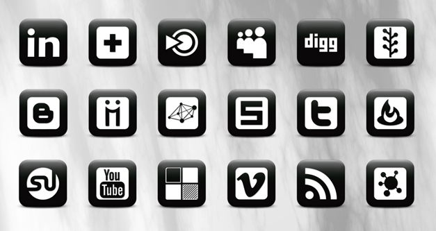 Black White Social Media Icons