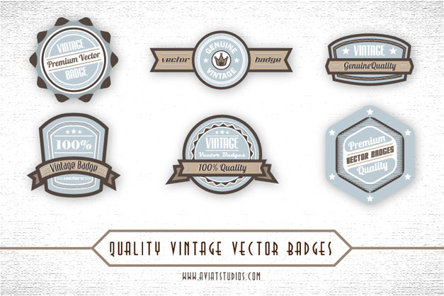 Blue Brown Vintage Vector Badges