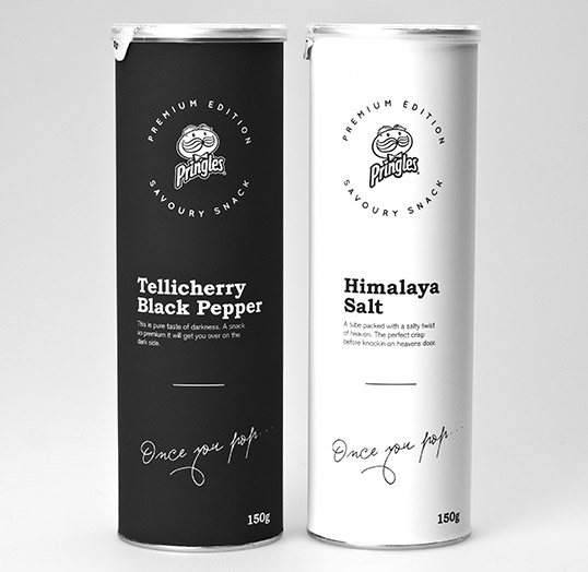Pringles Black White Packaging Design